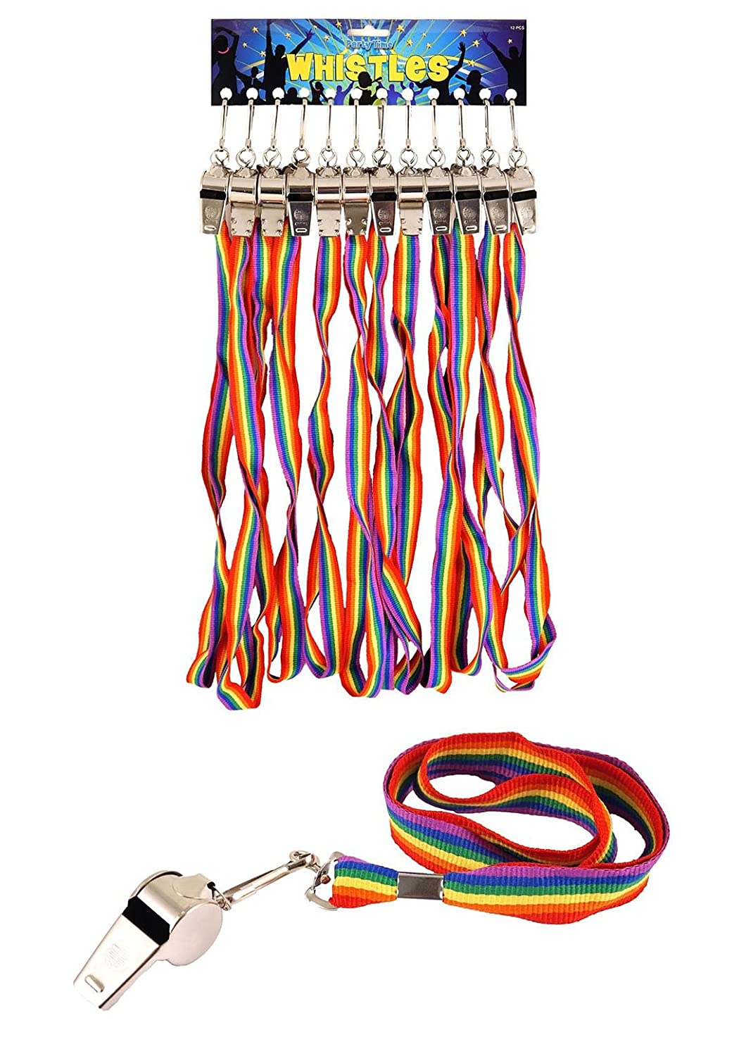 Islander Fashions Metal Referees Sports Whistle And Hi Quality Rainbow Lanyard Pride Theme Party One Size