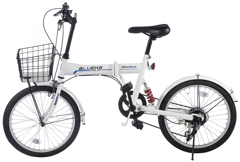 Merax Folding Bike 20 Inch 6 Speed Fashionable Rear Suspension Shimano Shifter (White)