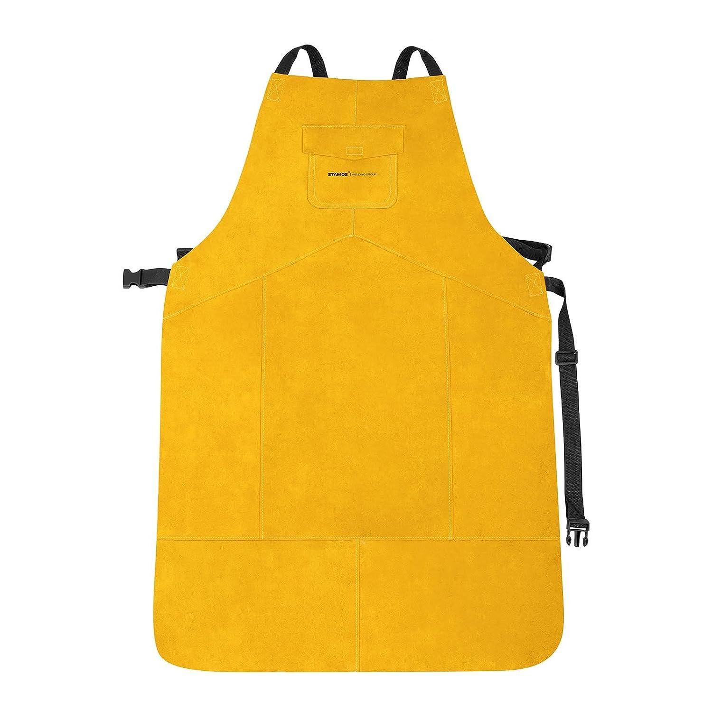 Stamos Welding Group Delantal de soldador de cuero SWA02L (Cuero serraje vacuno, Tamaño L, 91,5 cm x 58,5 cm, Costuras: KEVLAR®, Cierres de clip): ...
