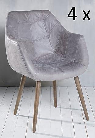 4x Armlehnenstuhl Stuhl Leder Grau Mit Holzbeinen Esszimmerstuhl