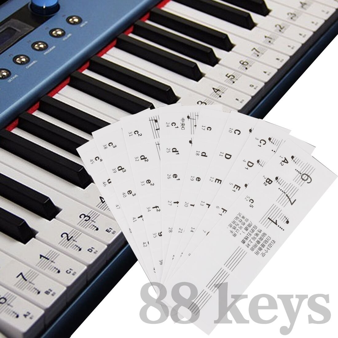 A-SZCXTOP 32/49/54/61/88 Key piano/Electronic organ keyboard sticker transparent anti abrasion Footsteps piano practice piano keyboard sticker