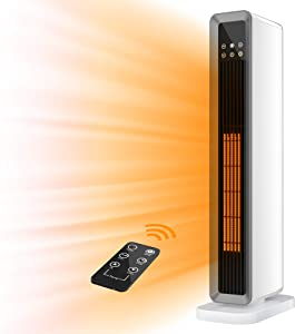 Space Heater, 1500W Oscillating Portable Heater, Electric Heater with Remote Control, PTC Ceramic Tower Heater, Adjustable Thermostat, ECO Mode, 12H Timer, LED Display, Overheat and Tipover Protection