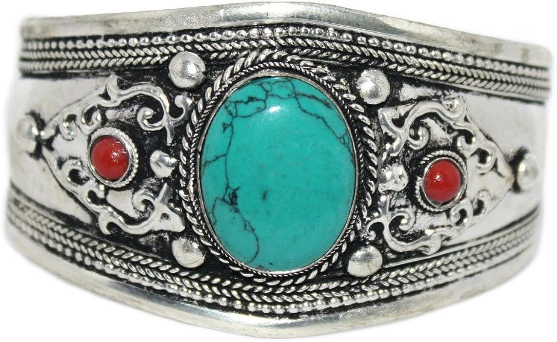 Tibetan bangle bracelet  Metal-turquoise handmade Nepali   vintage style  women cuff bangles