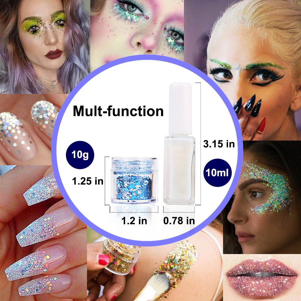 Body Glitter for Face Hair and Nail with Long Lasting Fix Glue, 6 Colors Holographic Chunky Glitter Cosmetic Makeup Party Decoration Temporary Tattoos by Bicmte (Image #2)