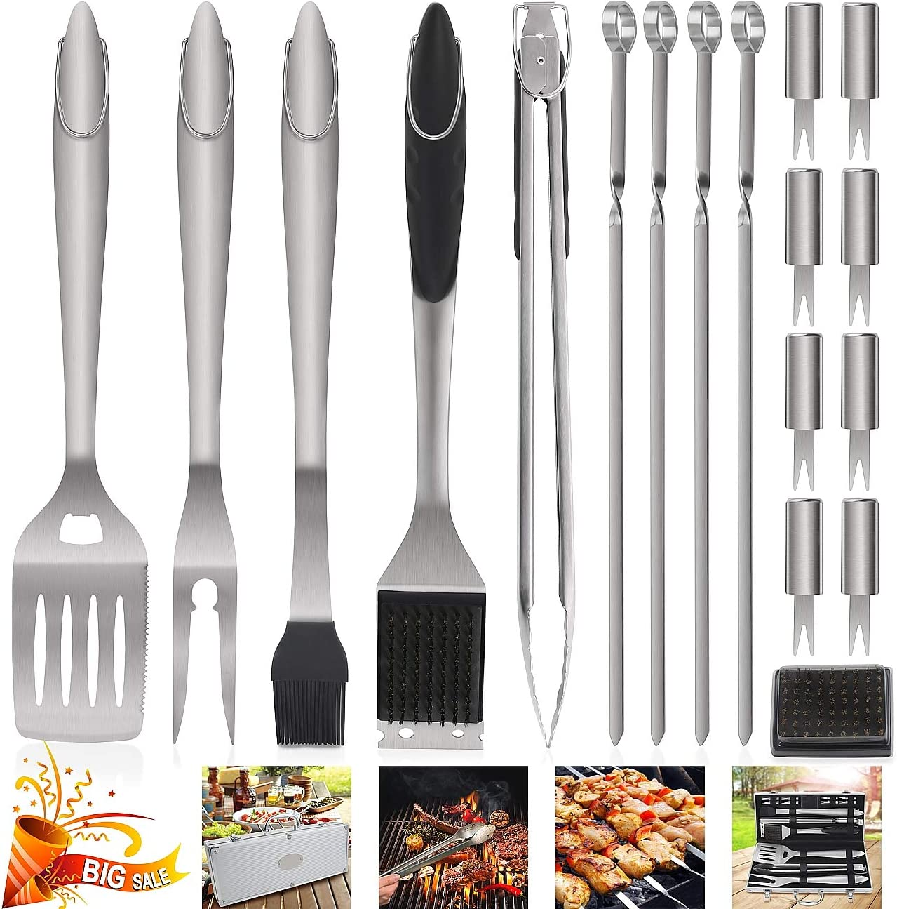 POLIGO 19PCS BBQ Grill Tools Set Extra Thick Stainless Steel Barbecue Grilling Accessories Set with Aluminum Case for Christmas Birthday Gifts – Outdoor Grill Utensil Kit Ideal Presents for Dad Men