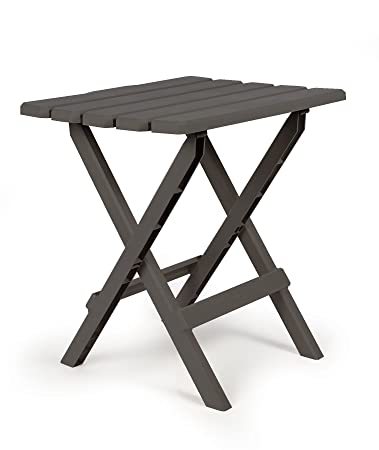 Camco 51885 Large Quick Folding Adirondack Side Table   Charcoal