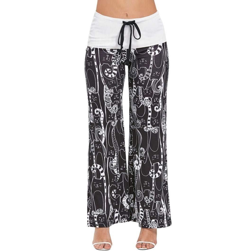 Mujer Elegantes Moda Pantalones Baggy Primavera Gatos ...