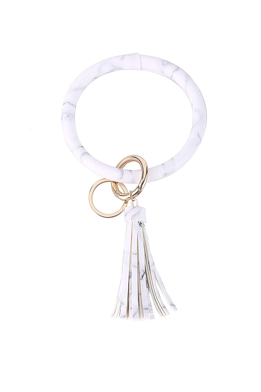 6067344c32081 Coolcos Wristlet Keychain Bracelet Bangle Keyring - Large Circle Key Ring  Leather Tassel Bracelet Holder For Women Girl