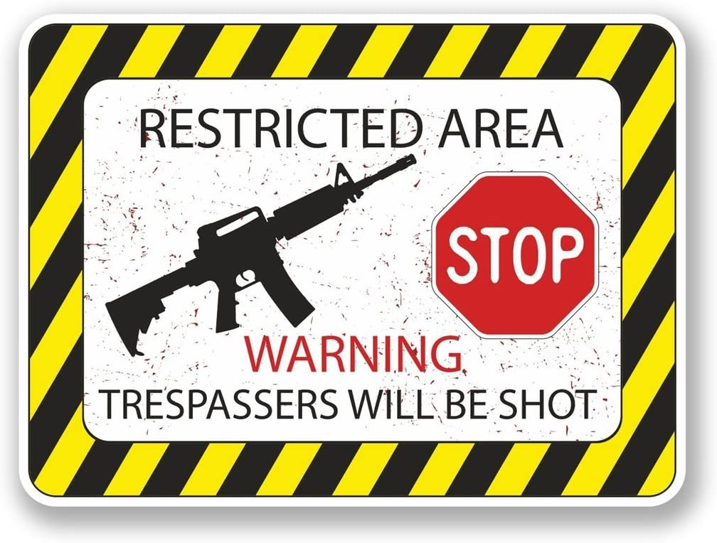 2 x 10cm- 100mm Restricted Area Vinyl SELF ADHESIVE STICKER Decal Laptop Travel Luggage Car iPad Sign Fun #4573