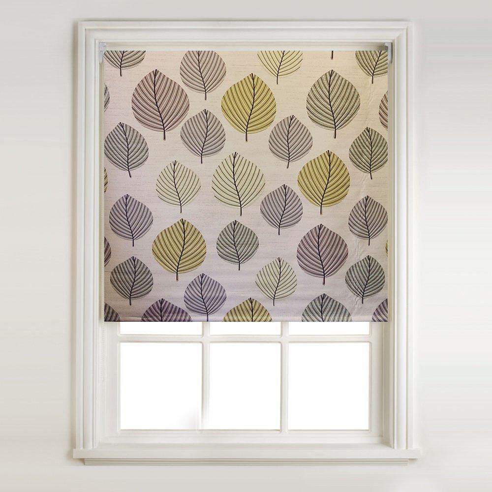 Autumn Leaf Green Thermal Blackout Roller Blind (width: 2ft (61cm)) Barnes Textiles