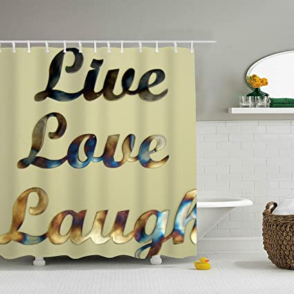Image Unavailable Not Available For Color Dreamting Live Love Laugh Metal Art Waterproof Mildew Resistant Fabric Polyester Shower Curtain