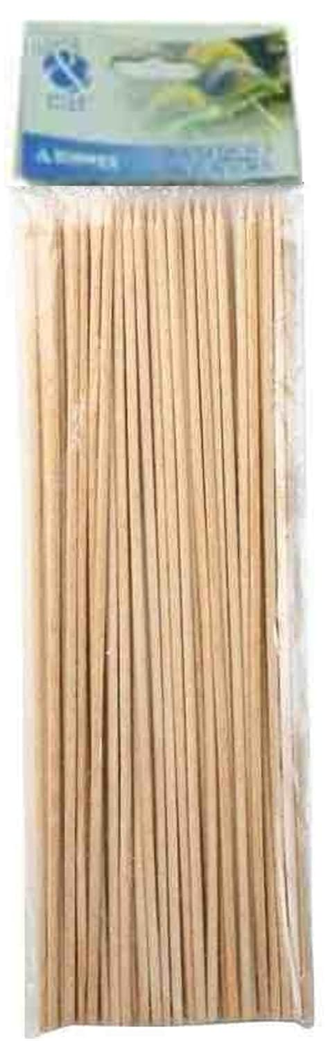 100 x SKEWERS IN BAMBOO (CARDED) Size 250mm / 10