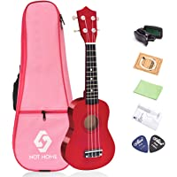 "NOT HOME® 21"" Soprano Ukulele with a Carrying Bag and a Digital Tuner, Specially Designed for Kids, Students and Beginners (Red)"