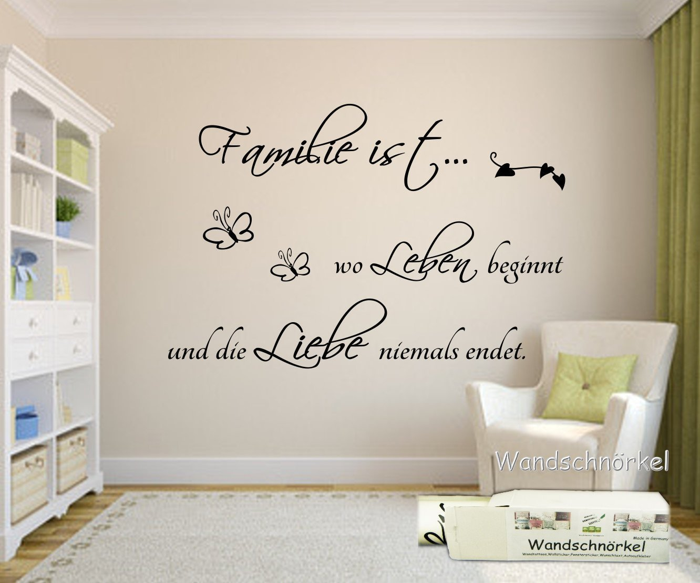 Wandschnörkel ® Wandtattoo Familie ist wo Leben beginnt und die ...