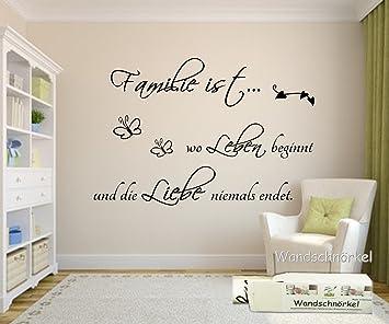 Wandschnörkel ® Wandtattoo Familie Ist Wo Leben Beginnt Und Die Liebe  Niemals Endet..101cm