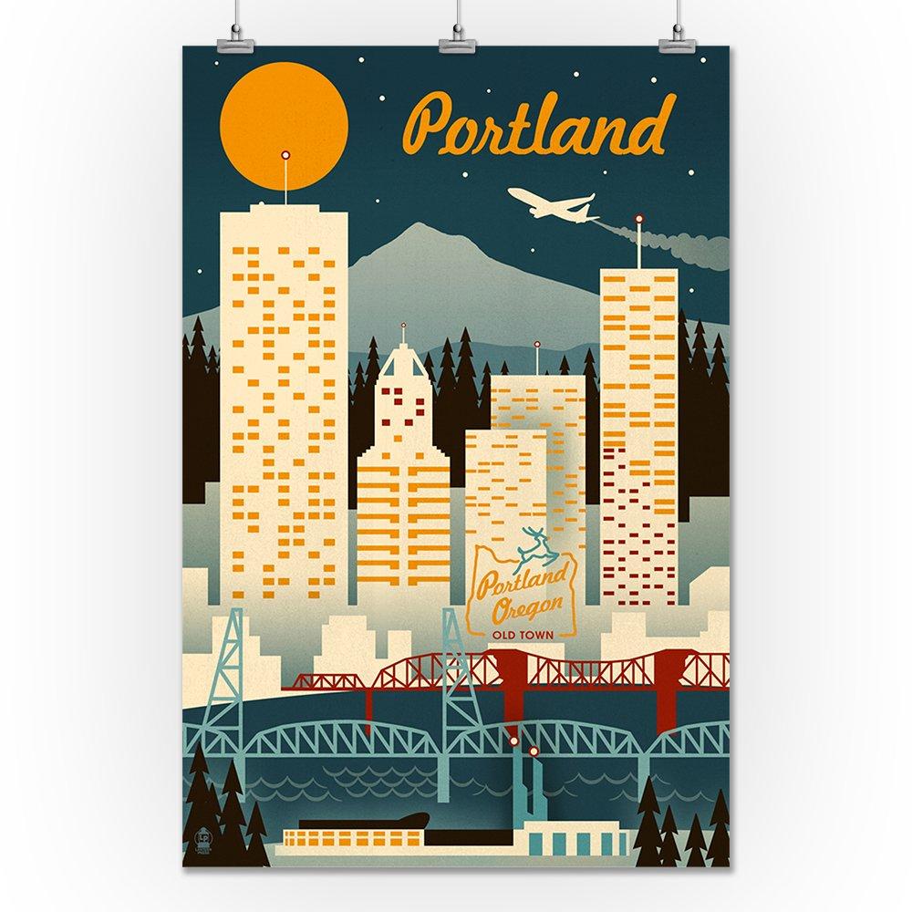 Amazon.com: Portland, Oregon - Retro Skyline (9x12 Art Print, Wall ...