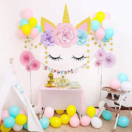 SaYaLa Unicorn Party Decorations , DIY Unicorn Horns \u0026 Eyes with Flowers  Baby Kid\u0027s Decor , Unicorn Decorations Backdrop for Girls Birthday Party  Baby
