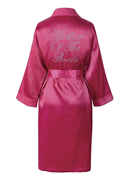 CrystalsRus Varsany Pink Mother Of The Bride Satin Rhinestone Bathrobe  Wedding Day Personalised Honeymoon Dressing Gown 3350914bc