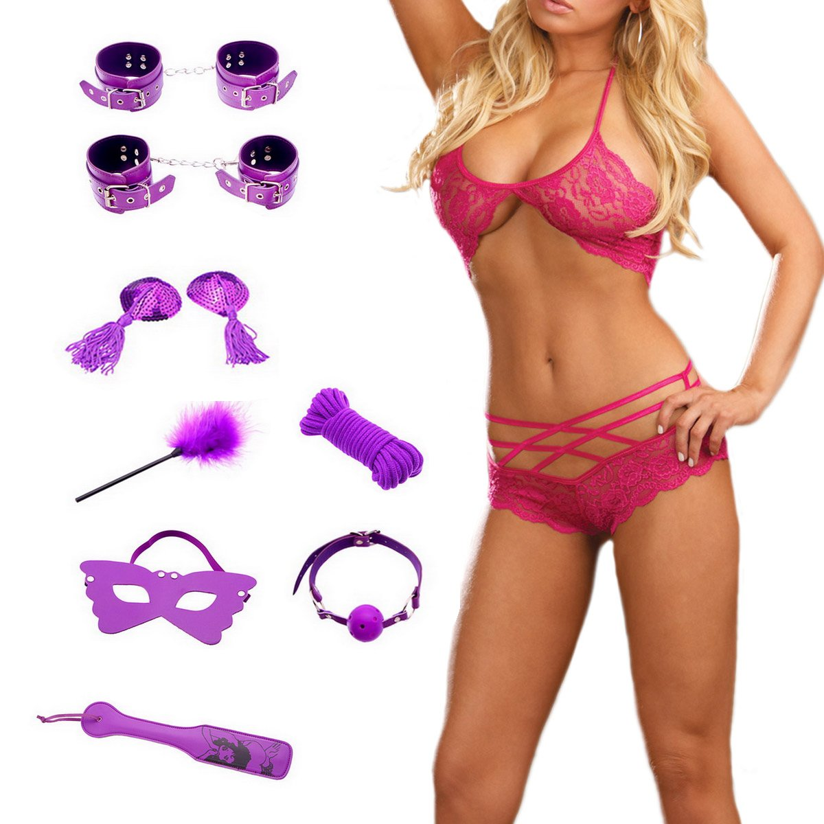 Amazon.com: W&B Lion Sex Tools Fetish Bondage Kit Hand Cuff Ankle Cuff Whip  Spanking Paddles Rope Mouth Gag Sex Neck Collar Mask with Sexy Underwear Sex  ...