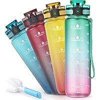 Sahara Sailor Vattenflaska, 1000 ml sport vattenflaska med motivationell tidsmarkering, BPA-fri tritan läckagesäker…
