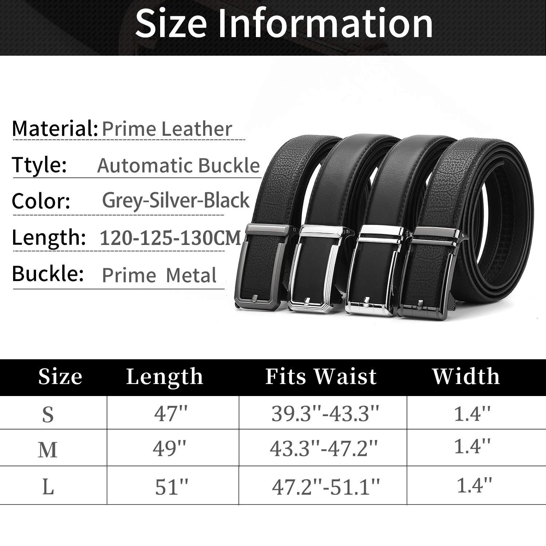 ZHENGYUN Men Adjustable Black Leather Belt, Work Belt, Slide Ratchet Automatic Click Buckle Dress Belts for Jeans Pants Black I M(125CM)