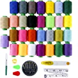 Caydo 30 Assorted Color 1000 Yards Polyester Embroidery Sewing Thread Spool Kit with Needles/ Scissors/ Tape Measure/ Thimble/ Untwist Tool/ Needle-Threading Tool