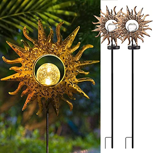 EOYIZW Sun Solar Lights Garden Decor, 2 Pack Solar Lights Outdoor Decorative Waterproof Yard Decor Lights with Warm White LED Stake Lights for Garden, Yard, Lawn, Patio, Pathway