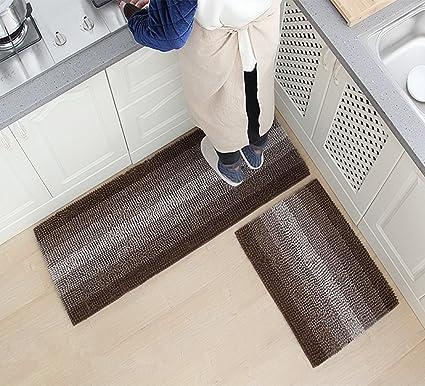 USTIDE 2pc Kitchen Rug Set, Modern Color Gradient Kitchen Runner Rugs,  Washable Stripe Floor Rugs Bathroom/Kitchen/Bedroom/Laundryroom