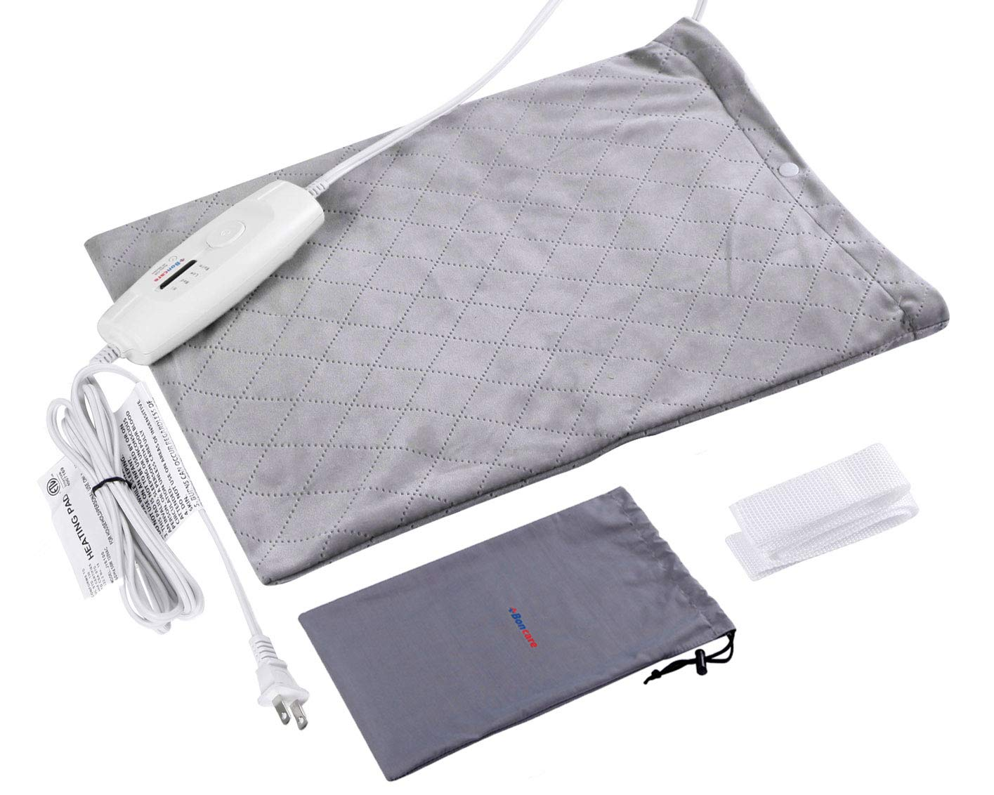 Boncare Heating Pad Dry/Moist Electric Heat Therapy Option for Pain Relief, Heating Pads for Back Pain Auto Shut Off,FDA Approved, 4 Heat Settings, Storage Bag 12'' x 15''Large Size (Light Grey)