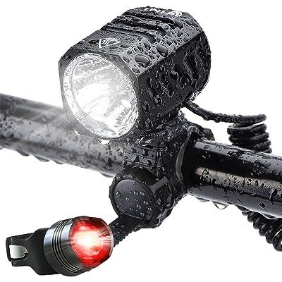Éclairage Avant, Te-Rich LED Phare Lampe Vélo Puissante USB Rechargeable et Lumière Arrière Vélo Étanche, 1200Lumens, 4400mAh Batterie Rechargeable, 4 Modes D'éclairage p