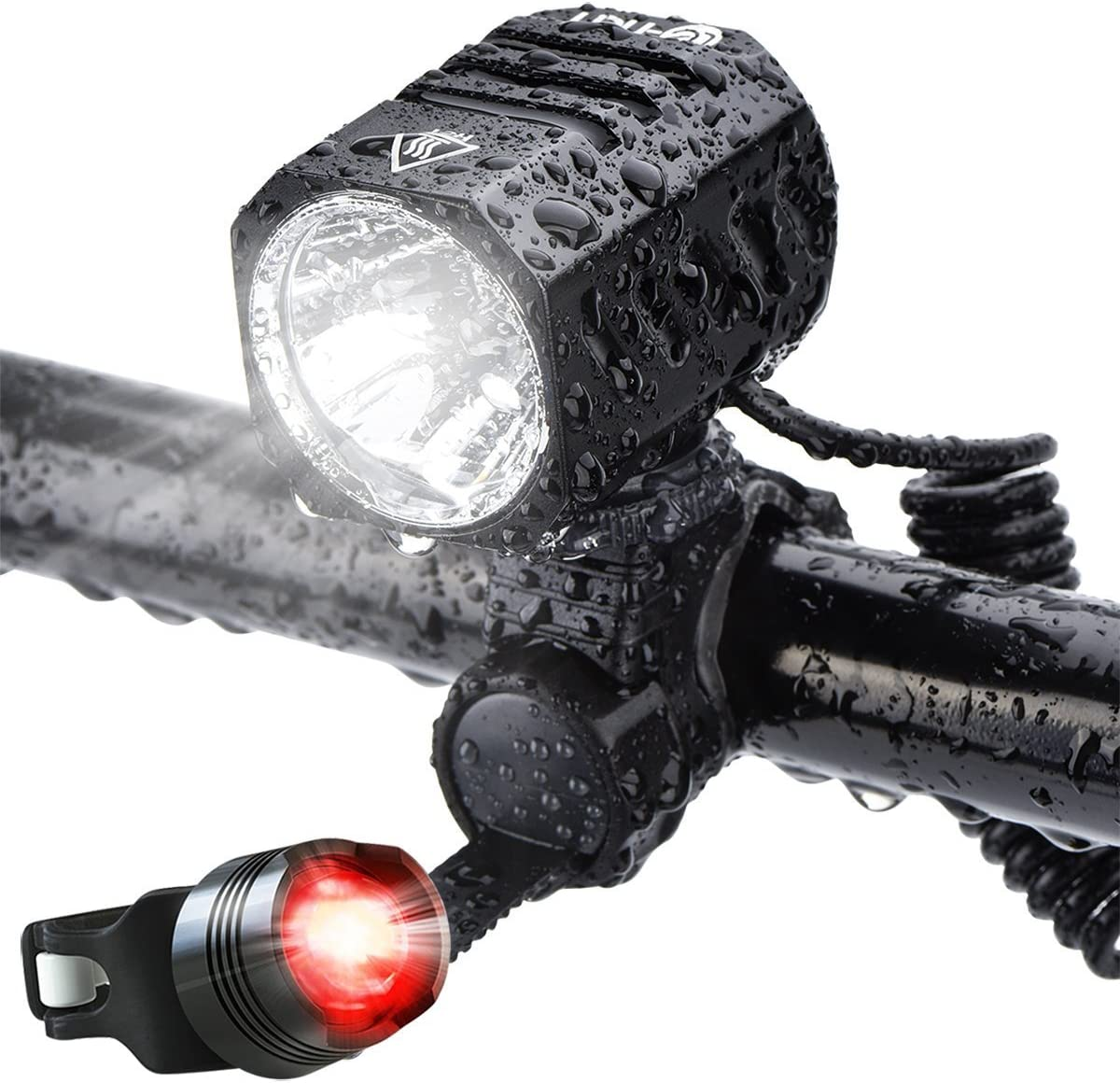 1200 lm Bicycle phare Cree Nestling Rechargeable USB DEL Bike Light Set