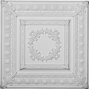 Ekena Millwork CT24X24EN W x 24 H x 3//4 P Eryn Ceiling Tile Factory Primed White