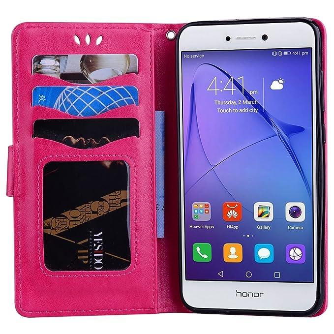 Protege tu teléfono, Huawei P8 Lite (2017) Glitter Powder Unicorn Pattern Horizontal Flip Funda de cuero con soporte y cartera y ranuras para tarjetas y ...