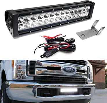 iJDMTOY Rear Bumper Mount Searchlight Reverse LED Light Bar Kit For 2011-2016 Ford F250 F350 F450, Bumper Frame Mounting Brackets /& On-Off Switch Wiring 2 36W High Power LED Lightbars