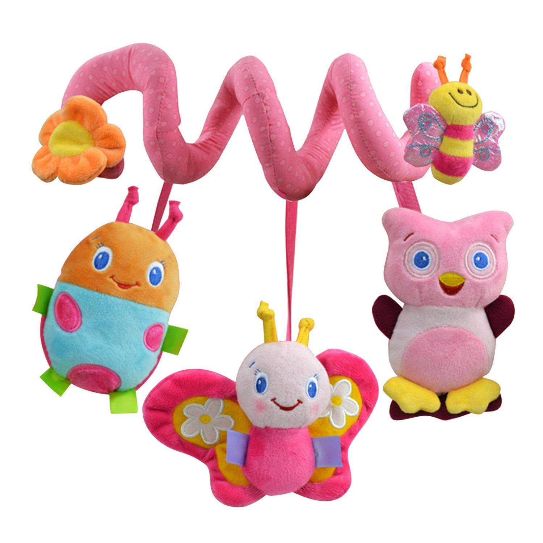 De feuilles Kinderwagenkette Safari – Mobile-Kette mit Niedlichen Figuren Zum Aufhängen an Kinderwagen, Babyschale Oder Kinderbett – Für Babys und Kleinkinder ab 0+ Monaten (Bee)