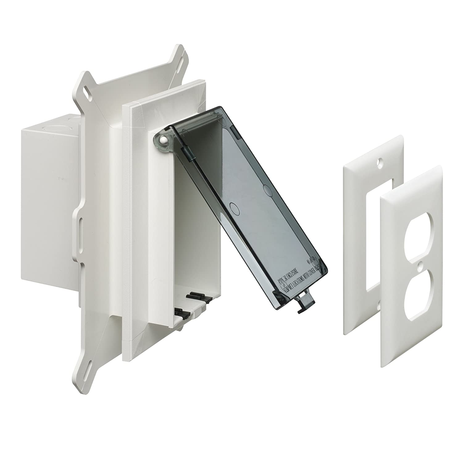 Arlington Dbvs1c 1 Low Profile In Box Recessed Outlet Wall Plate Electrical Adding An Kit For New Vinyl Siding Construction Vertical Gang Clear