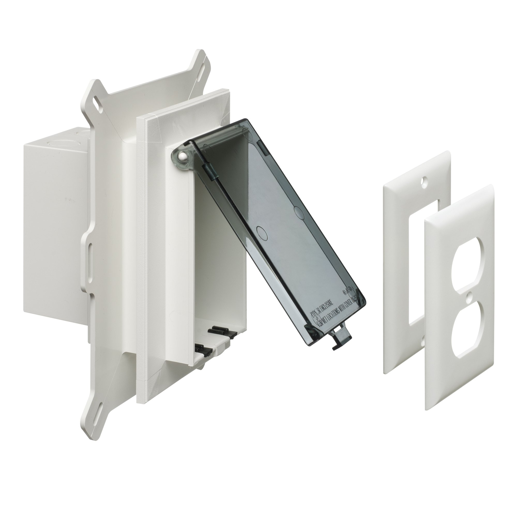Arlington DBVS1C-1 Low Profile IN BOX Recessed Outlet Box Wall Plate Kit for New Vinyl Siding Construction, Vertical, 1-Gang, Clear by Arlington Industries