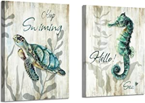 "Marine Life Canvas Wall Art: Turtle and Seahorse Artwork Sea Life Pictures on Canvas for Bathroom (24"" x 18"" x 2 Panels)"