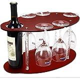 Wine Glass Holder, Tabletop Wine Racks free-standing, Wine Glass Rack Acrylic- Small Wine Racks Counter-top Display 1 Wine bottle+5 Glass(Modern Idea for Parties/Bar)