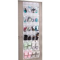 Umi. by Amazon - Range Chaussures Gain de Place, Rangement Chaussures sur la Porte, Organiseur de Chaussures à Suspendre, 24 Compartiments, avec 4 Crochets, 48,3W x 162,6H, Blanc + Transparent