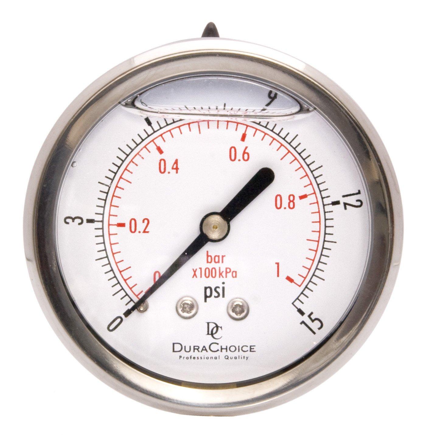 2-1/2'' Liquid Filled Pressure Gauges - Stainless Steel Case, Brass, 1/4'' NPT, Center Back Mount Connection 0-15PSI