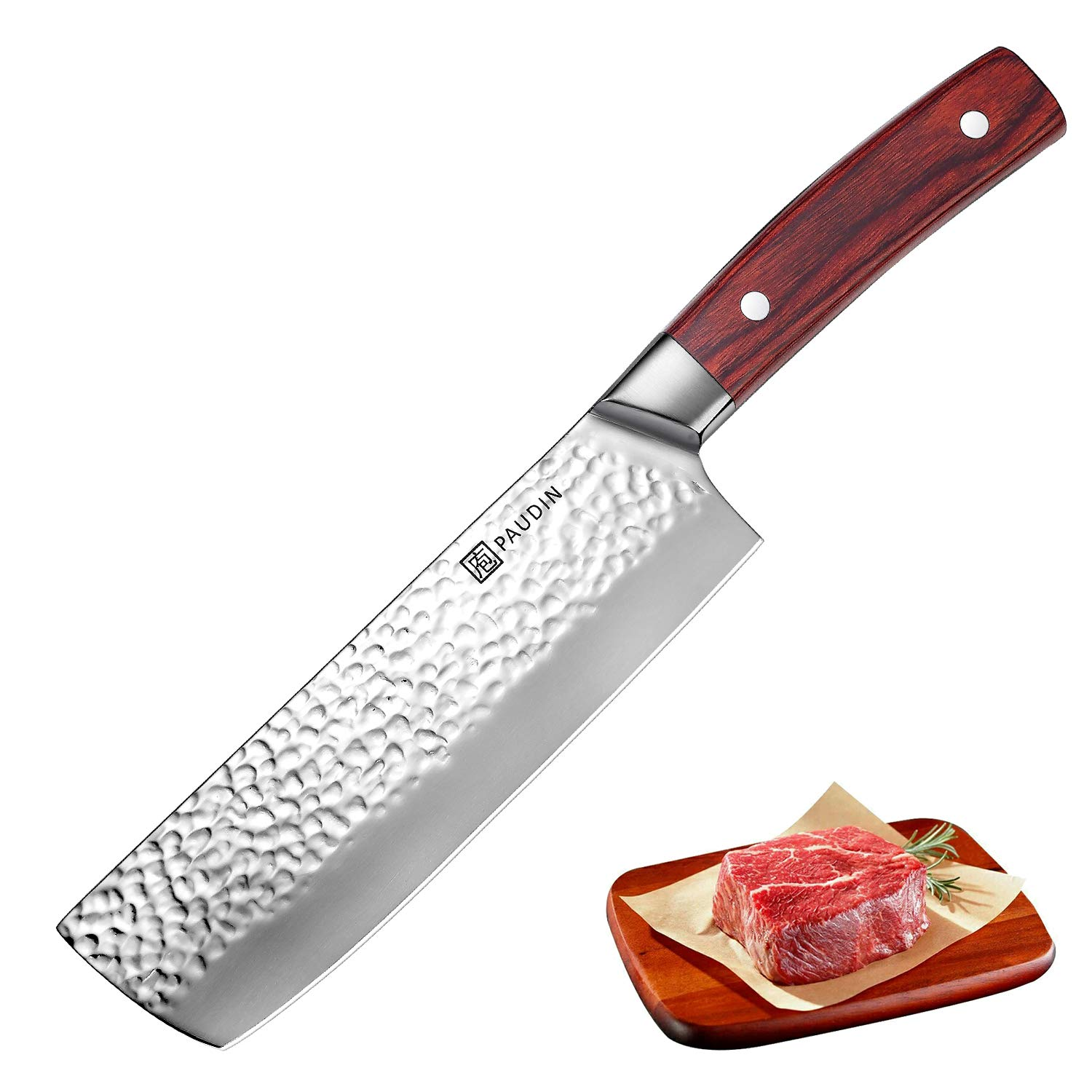 Cleaver Knife 7 Inch, PAUDIN Pro Chinese Vegetable Cleaver Meat Nakiri Knife German High Carbon Stainless Steel 7Cr17Mov Hammered Pattern, Sharp Knife with Ergonomic Pakka Wood Handle by PAUDIN