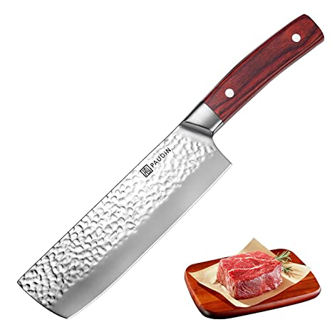 Nakiri Knife 7 Inch, PAUDIN Butcher Knife with Meat Vegetable Cleaver, Chinese Chef Knife with 7Cr17Mov German HC Stainless Steel Hammered Pattern, ...