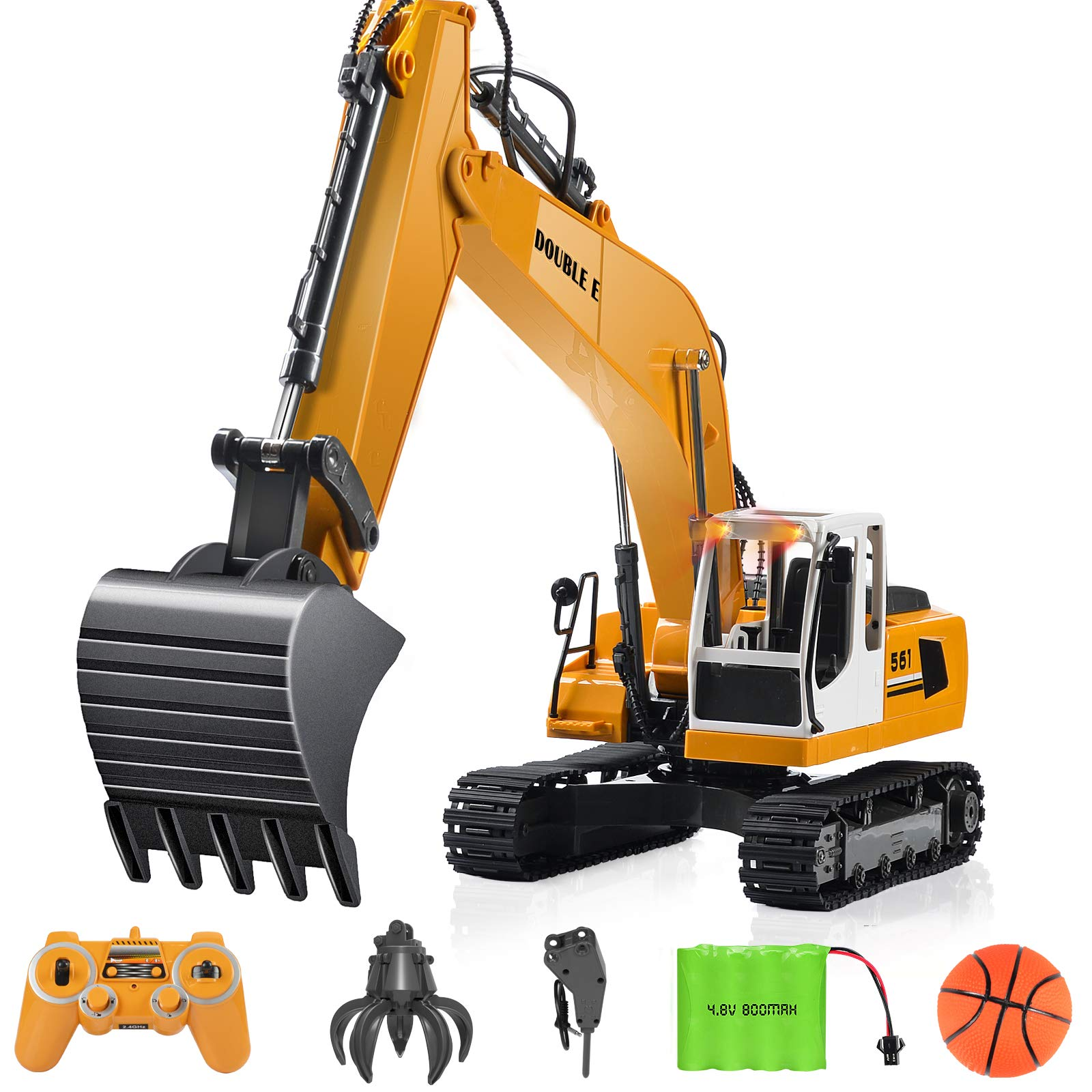 Remote Control Excavator Toy 1//14 Scale RC Excavator Full Functional Construction Vehicles 22 Channel Rechargeable RC Truck with Metal Shovel and Lights Sounds