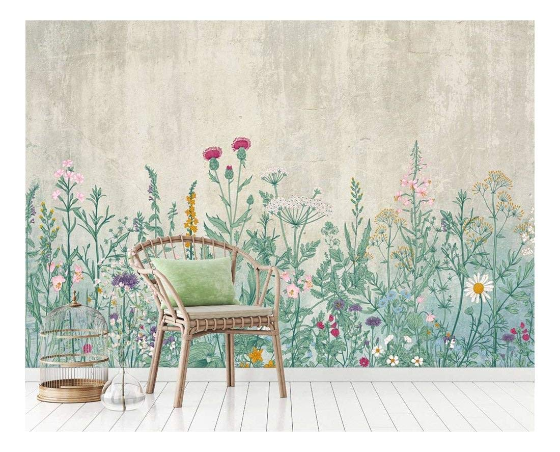 Large Wall Mural Retro Style Flowers And Plants Of Various Colors With Vintage Background Vinyl