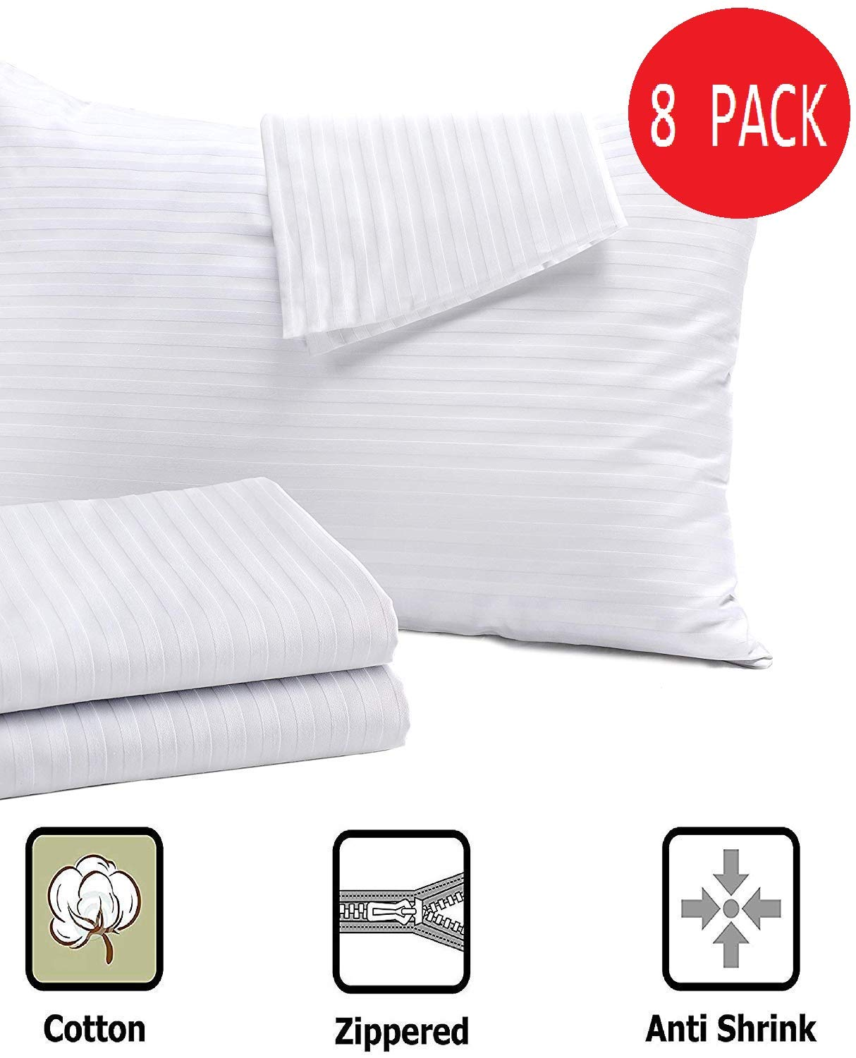 Niagara Sleep Solution 8 Pack Pillow Protectors Standard 20x26 Inches ❤ Life Time Replacement ❤ 100% Cotton Sateen High Thread Count 400 Style Standard Zippered White Hotel Quality Covers Cases