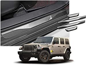 CDEFG (4PCS Car Door Sill Protector Door Sill Scuff Plates for Grand Cherokee/Wrangler JL/Gladiator, Entry Guard Cover Door Sill Protection Stainless Steel Scratch Resistance