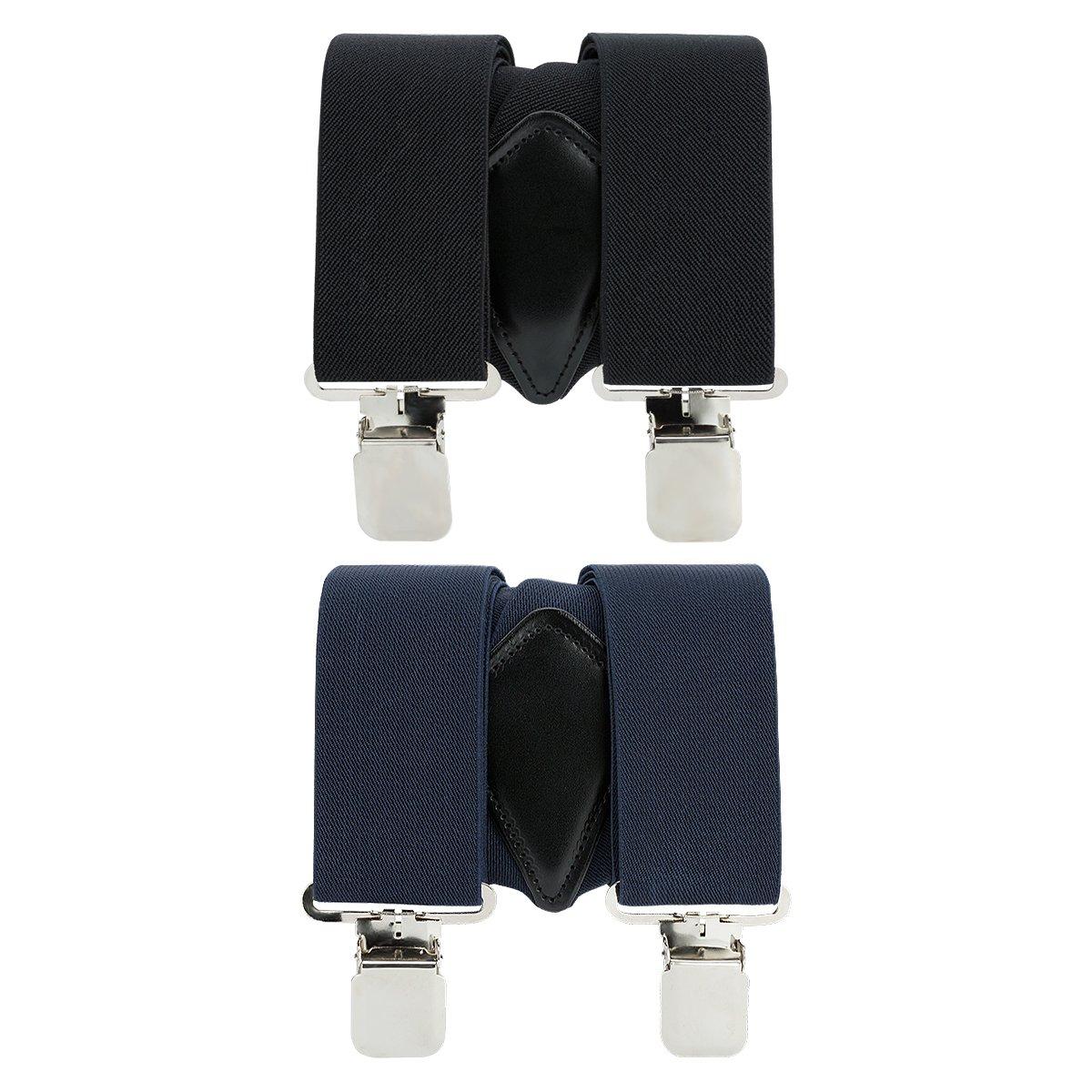 Mens X-Back Heavy Duty Work Suspenders 2pc Adjustable Elastic Clip Suspenders (Black/Navy Blue) One Size by GradeCode (Image #5)