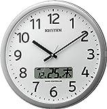 リズム時計 RHYTHM 電波 掛け時計 プログラムカレンダー01SR チャイム付き シルバー色 4FNA01SR19