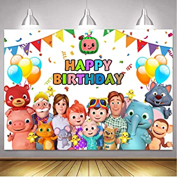 Amazon Com Cocomelon Family Backdrops Kids Happy Birthday Cocomelon Party Custom Banner Decoration Photography Background For Photo Studio Newborn Baby Shower Birthday Party Supplies Banner Camera Photo
